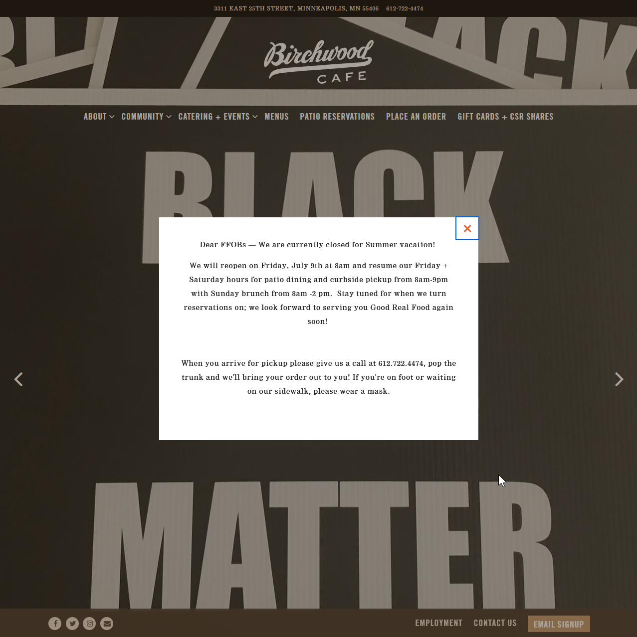 """Front page of birchwoodcafe.com. Foreground: Announcement about reopening on July 9th. Background: Picture of a sign displaying """"Black Lives Matter"""""""